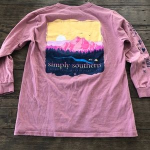 Simply Southern Pink mountain camping T shirt Jeep